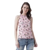 Women's  Crepe Pink   Colour Floral  Top