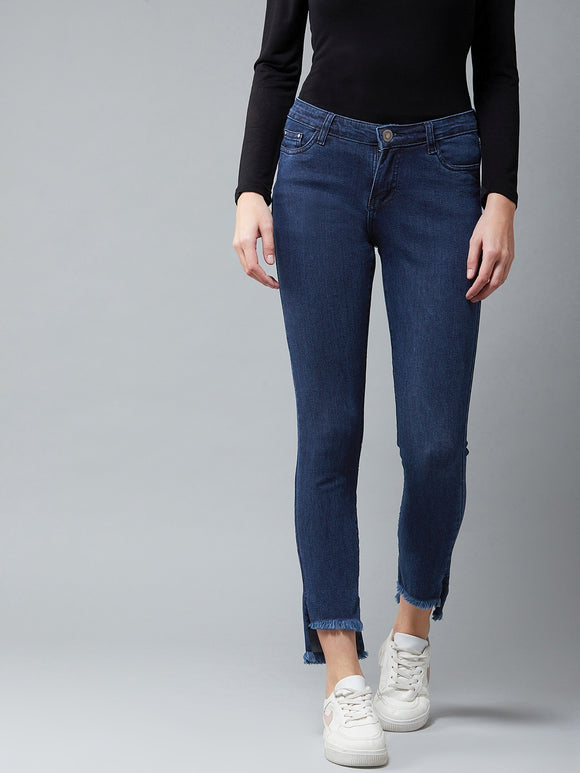 Nevy Blue Coloured Bottom Up-Down Jeans