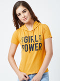 Women's Cotton yellow Coloured printed Short sleeves Hooded Tshirt