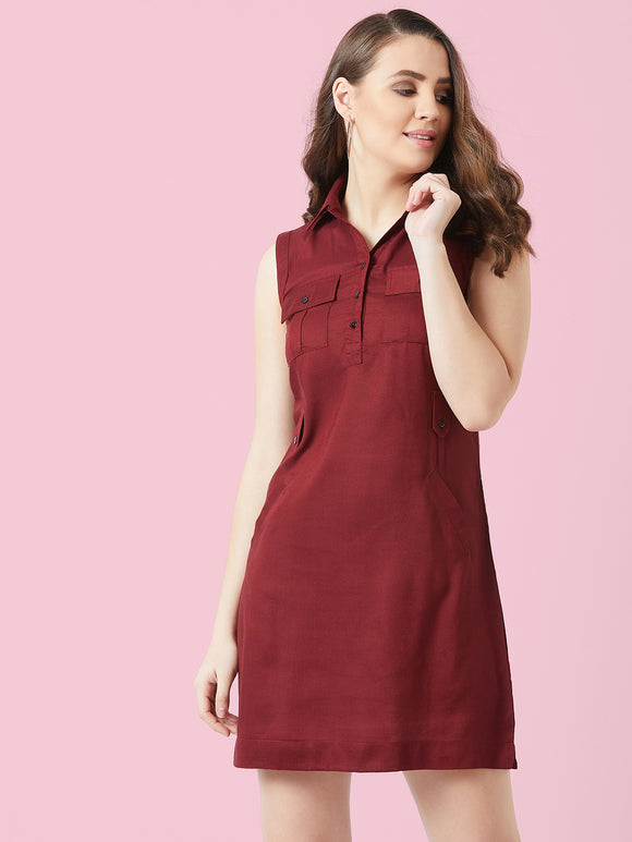 Maroon coloured Sleeve less Dress