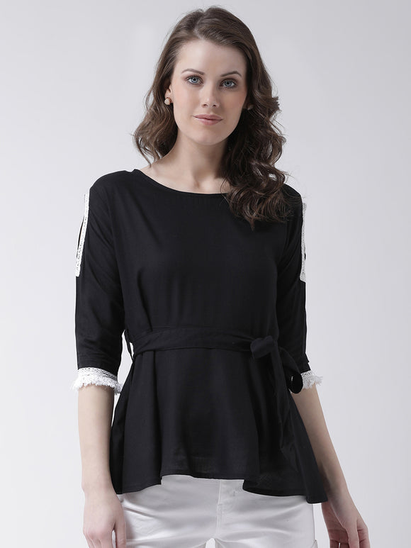 Women's Rayon Solid Black   Coloured 3/4 th Sleeve  Top