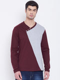 Burgandy & White Coloured Full Sleeve T-shirt