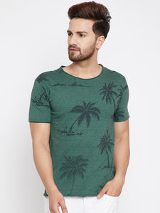 Men's Cotton Green  colour Printed Short Sleeve T-shirt