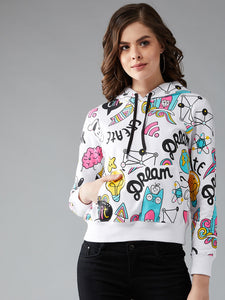 Full Sleeve White Colour Printed Sweatshirt