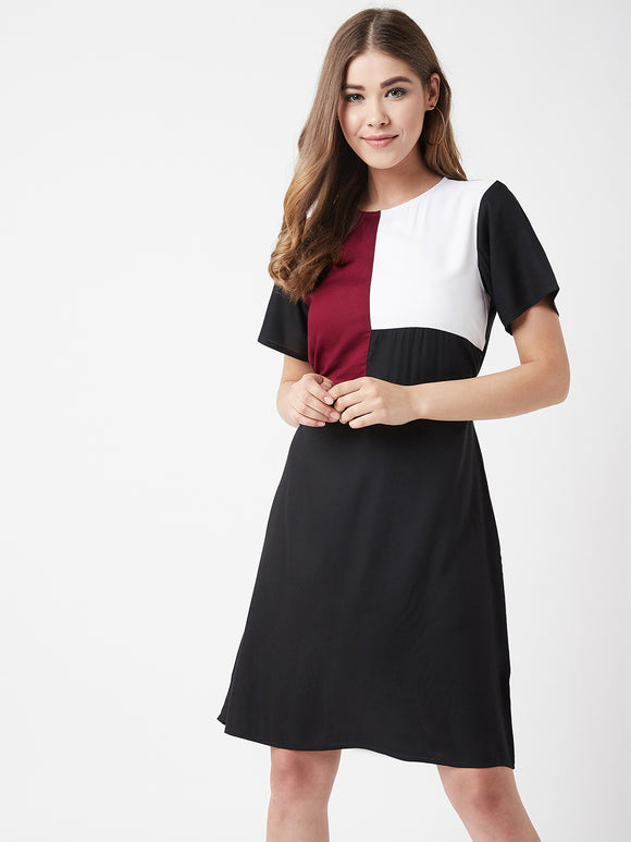 The Dry State Women Viscose  Black Colour A-line  dress