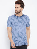 Men's Cotton Blue  colour Printed Short sleeves   Tshirt