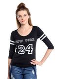 Women's Cotton Black  Printed 3/4 sleeves Tshirt