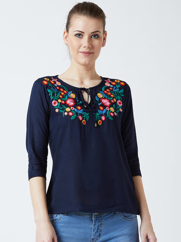 Women's Rayon Nevy Blue Coloured Embrodrised 3/4 th Sleeve Top