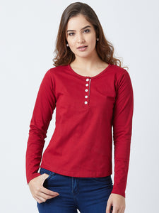 Women's Cotton Maroon  Coloured Solid Full Sleeve Henley  Tshirt