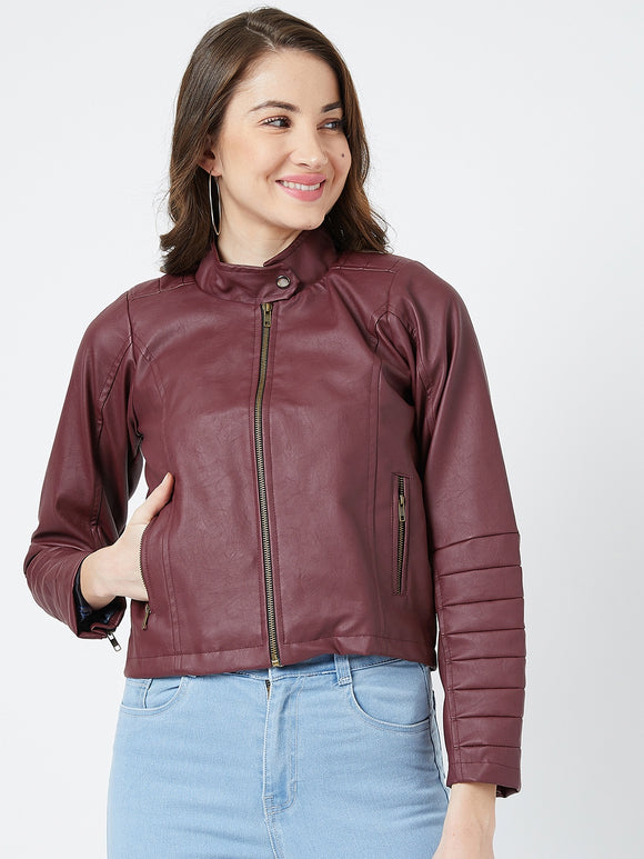 Cheery Red Leather Jacket