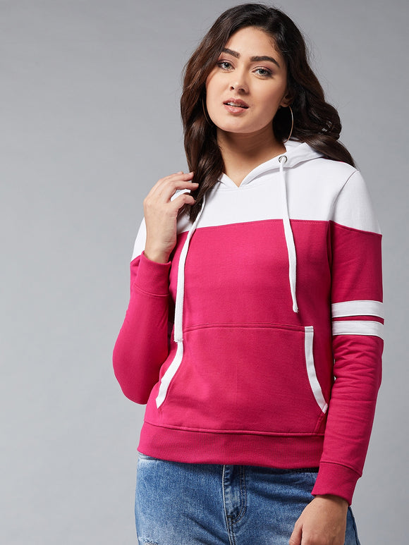 Full Sleeeve White n Pink Colourblocked Sweatshirt