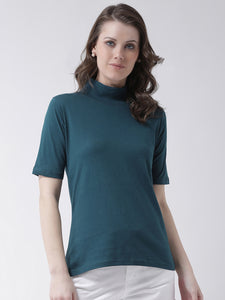 Women's Cotton Green  Colour Solid Short   Sleeve Top