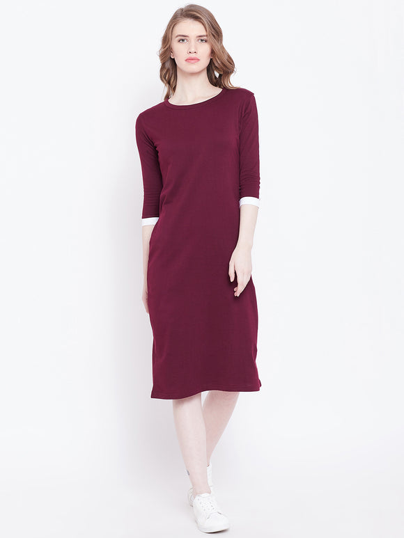 3/4 th Sleeve Burgandy Coloured Dress