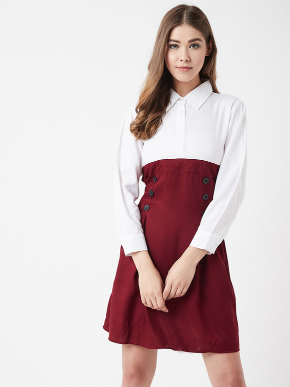 The Dry State Women Rayon MaroonColour Dress