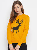 Full Sleeve Yellow Printed Sweatshirt