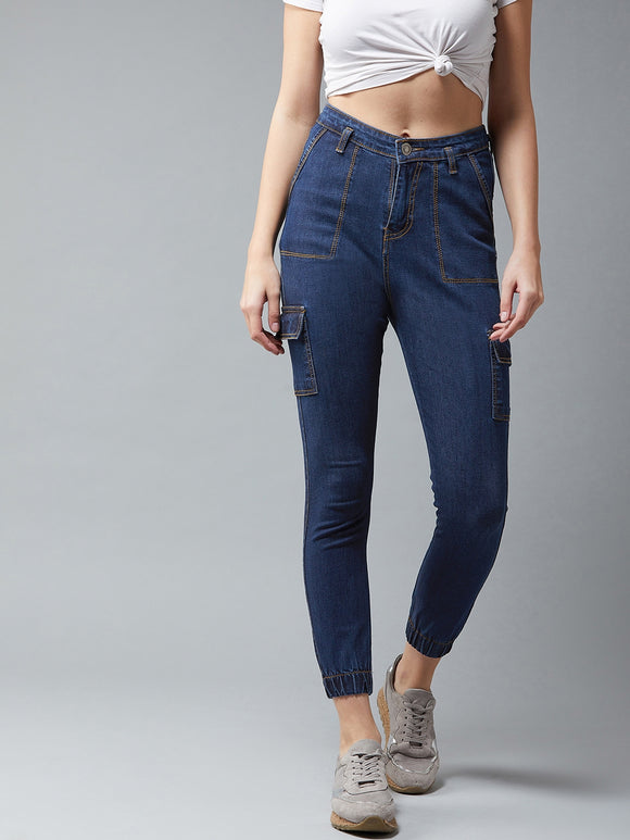 Blue Coloured Cargo Jeans