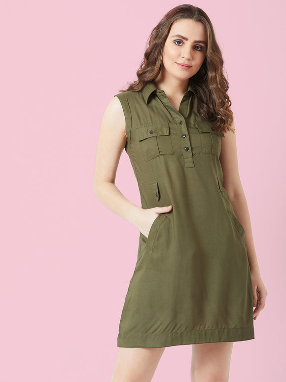 Olive coloured Sleeve less Dress