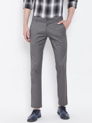 The Dry State Regular Fit Men Grey Trousers