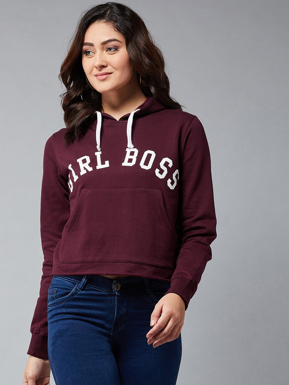 Full Sleeve Burgandy Colour Printed Sweatshirt