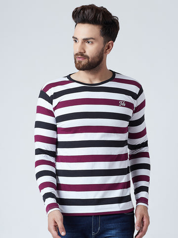 The Dry State Men's Cotton  Multi  colour Striped  Full  sleeves  Tshirt