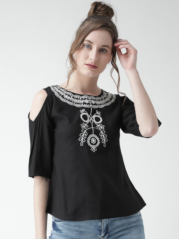 Women's Rayon Black Cold Sholder Round  Neck Half sleeve Top