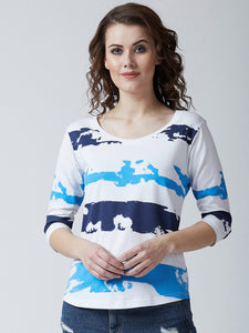 Women's Cotton   Multi coloured printed Full sleeves Tshirt