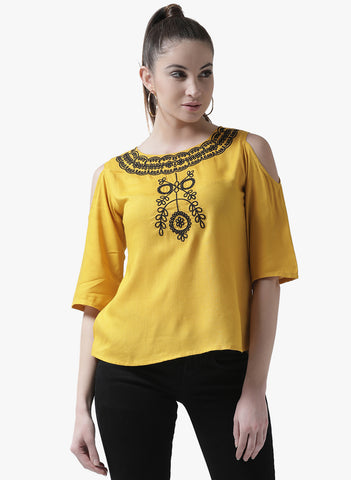Women's Rayon Yellow Cold Sholder Round  Neck Half sleeve Top