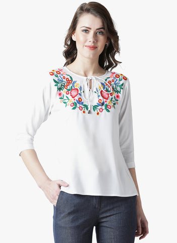 Women's Rayon  White Coloured Embrodrised 3/4 th Sleeve Top