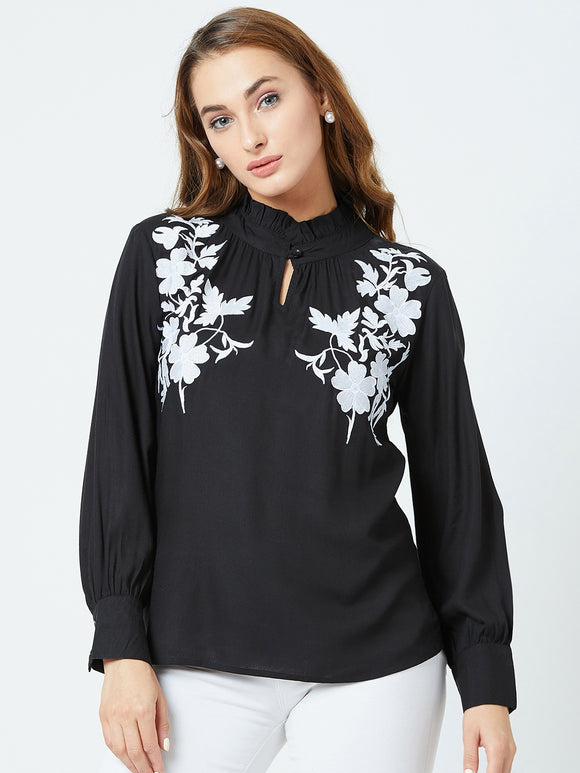 Women's Rayon  Black  Colour Embrodrised full Sleeve Top