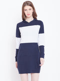 Hooded Full Sleeve Colourblock Dress