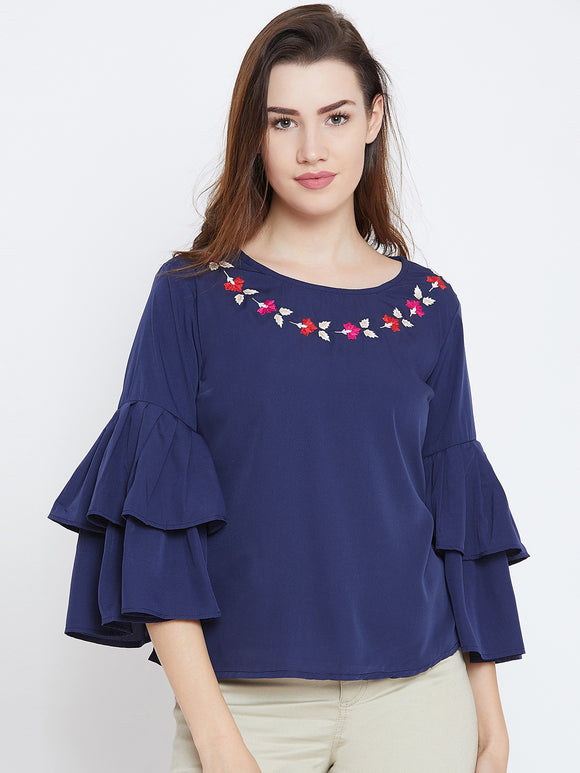 Women's Cotton Blue Bell Sleeves Top