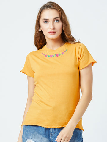 Women's Cotton Yellow Colour Embrodrised Short   Sleeve Top