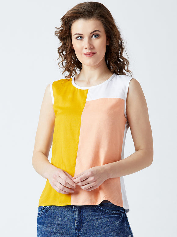 Women's Cotton Multicoloured Colour Block sleeveless Top