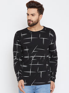 Cotton Black Printed Full Sleeve Tshirt