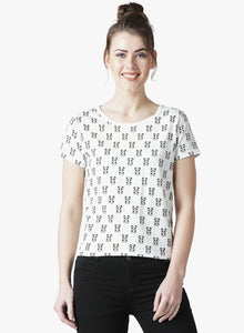 Women's Cotton  WhiteSelf Design Half sleeves Tshirt