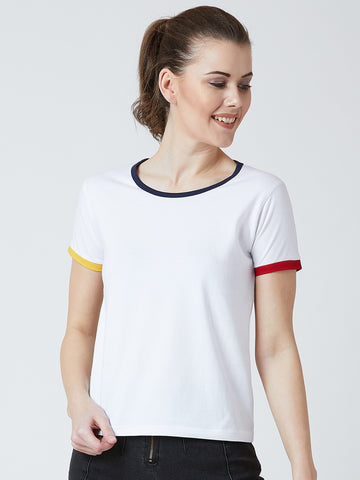 Women's Cotton White Solid Short  sleeves Tshirt