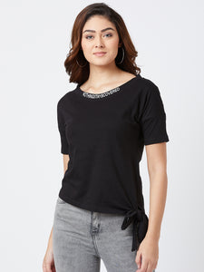 Black Colour Half Sleeve Solid T-shirt
