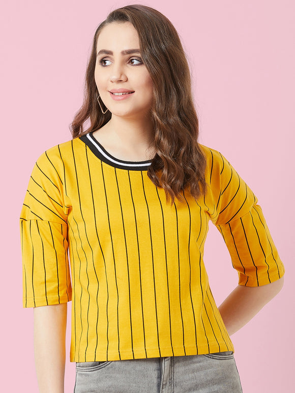 Yellow Coloured Short Sleeve T-shirt