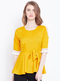 Women's Rayon Yellow  Round  Neck Half sleeve Top