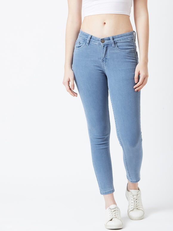 Sky Blue Coloured Ankle Length jeans