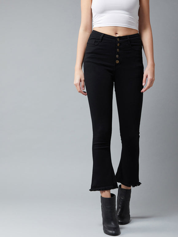 Black Coloured High Waist Boot Cut Jeans