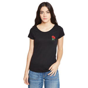 Women's Cotton Black Rose Embroidered Short Sleeves T-shirt