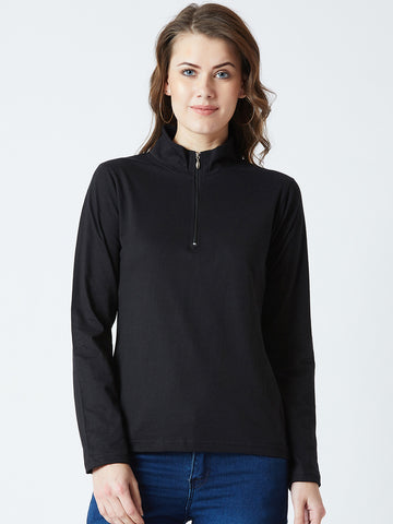 Women's Knitted Black Colour Solid full Sleeve  Top