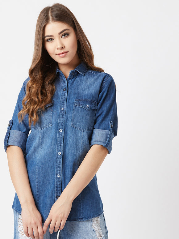 The Dry State Women Blue Denim Shirts
