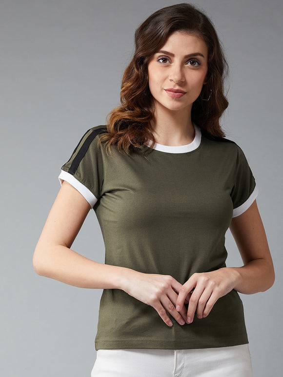 Olive Coloured Short Sleeve T-shirt