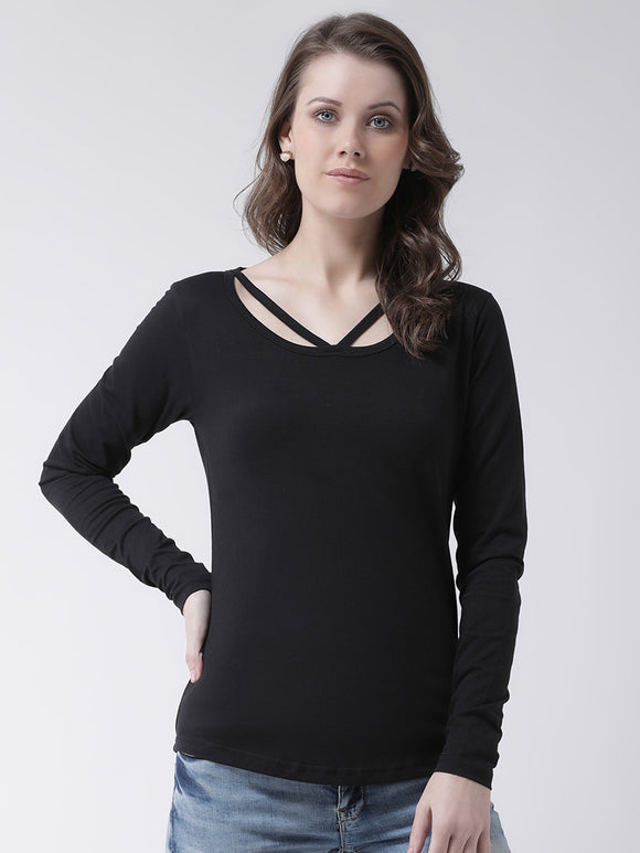 Women's Cotton Black Solid Full sleeves Tshirt