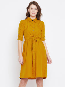 Yellow Colour Crepe Dress