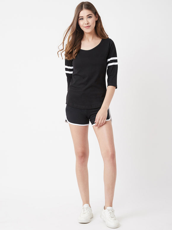 The Dry State Women Cotton Black Colour Sleep Wear