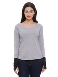 Women's Cotton Grey  Solid Full sleeves Tshirt