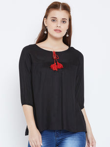 Women's Cotton BlackFront Tie up Neck 3/4 sleeve Top